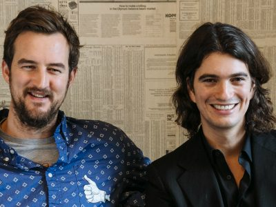WeWork founders Miguel McKelvey and Adam Neumann are all smiles after HSBC signs up for space in HK
